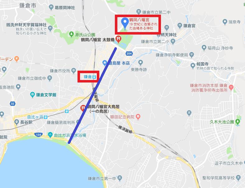 鎌倉 鶴岡八幡宮 地図
